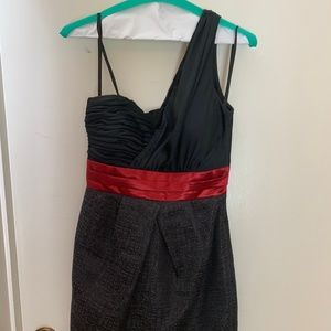 Max & Cleo One Shoulder Black/Red Cocktail Dress
